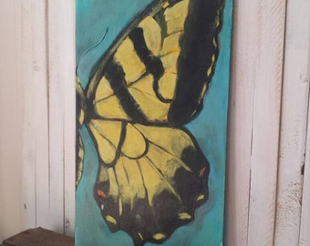 Butterfly painting/ wings/ yellowtail  / free  /hand painted/ original painting/  farm wood/ distressed finish