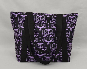 Zippered Fabric Tote Bag, Haunted Chandelier Bats and Skulls, Purple Black