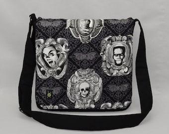 Frankenstein Dracula Mummy Medium Size Messenger Bag, Halloween Goth Bats, Tablet and Phone Zipper Pockets, Movie Monsters, Ready To Ship