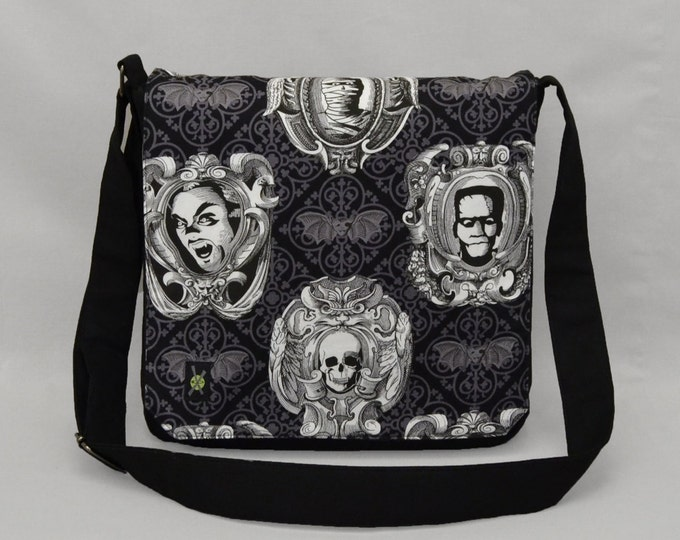 Frankenstein Dracula Mummy Medium Size Messenger Bag, Halloween Goth Bats, Tablet and Phone Zipper Pockets, Movie Monsters, Ready To Ship