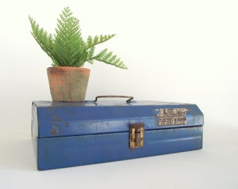 Blue Metal Storage Box , Vintage Industrial Metal Carrying Case , Hinged Metal Case , Urban Industrial Decor