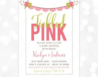 Tickled Pink Baby Shower Invite  Girl Baby Shower Invitation Floral Baby Shower Floral Wreath Pink Green DIY Printable Invite PDF (#161)