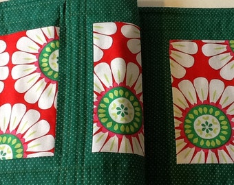 Red and Green Quilted Christmas Table Runner, Modern Christmas Table Runner, Quiltsy Handmade