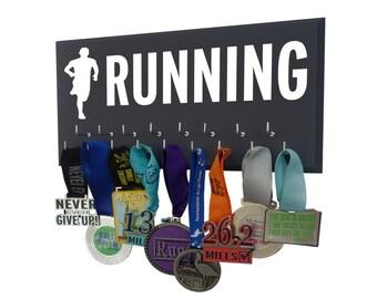 runners silhouette - running medals hanger - running gear - runners gifts, man running, men running