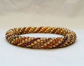 Pot of Gold Spiral Seed Bead Crochet Bangle - Ready to Ship