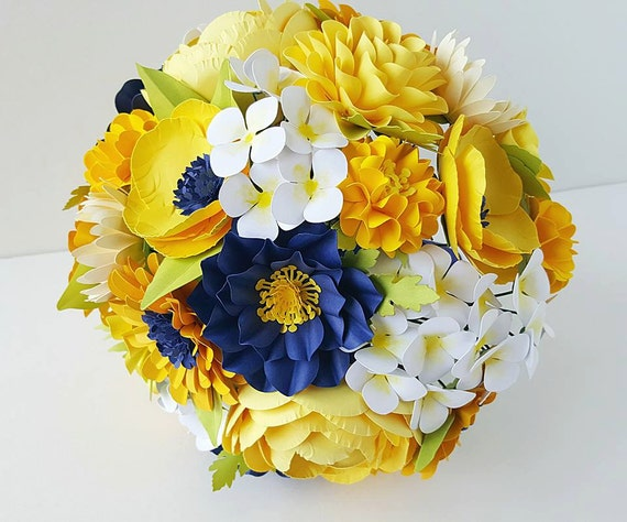 Paper Bouquet - Paper Flower Bouquet - Wedding Bouquet - Shades of Yellow and Navy - Custom Made - Any Color