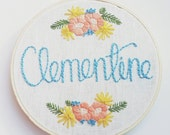 Custom name embroidery; Baby shower gift; Nursery decor; Custom baby gift; Floral embroidery; Embroidered name; Baby girl gift; Floral name