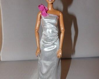Sleek one shoulder silver Lame formall dress for Fashion Dolls - ed772