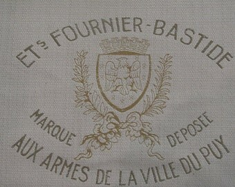 French Country crest script pillow cover in French Laundry fabric  20x20, 22x22, 24x24, 26x26