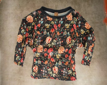 Black floral top/Rose print scuba fabric/Wide neck pull over/Long sleeve dolman
