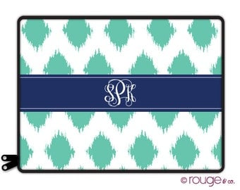 "IKAT personalized laptop sleeve 13"" or 15"" - with monogram - NEW elastic tabs give you the option to keep the sleeve on while you work"