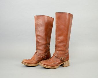70's Brown Leather Riding Boots (US 6.5)