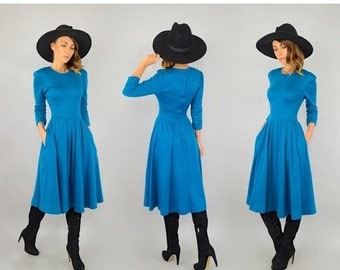 WINTER SALE 80's Blue Sweater Dress W/ Pockets