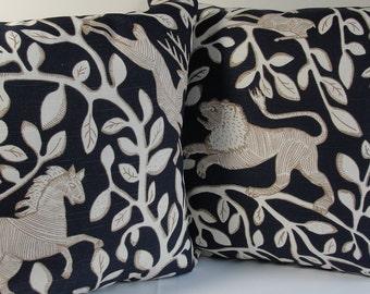 Decorative Robert Allen throw pillows one pair dwell cotton navy natural tan animals forest trees lion bird horse deer vines jungle
