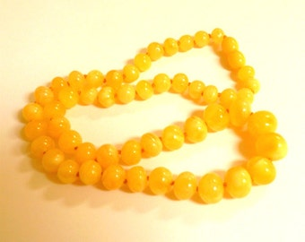 """Baltic Amber Jewelry Butterscotch Necklace Baroque Beads Natural Yellow Round 18.5"""" 20 gram"""