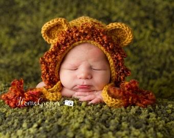 Newborn hat   crocheted lion hat   Lion Bonnet Hat in Gold with Mane   crochet hat  - soft cuddly warm baby gift or photo prop