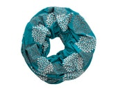 INFINITY SCARF - Gray Double Flowers on Turquoise