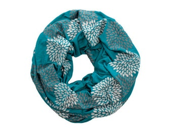 INFINITY SCARF - Screen Printed - Gray Double Flowers on Turquoise