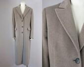 90s CINZIA ROCCA Designer Wool Angora Taupe Maxi Coat. Winter Jacket (XL, L)