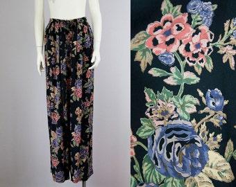 80s Vintage Black Rayon Floral Print High-Rise Flowing Pants (L)