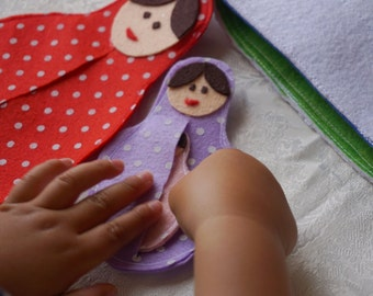 Babushka / matrushka- Quiet Book Page / Kids Quiet Book / Felt Quiet Book / Gift For Niece / Sensory Toy for Toddler and Baby / Soft Book /