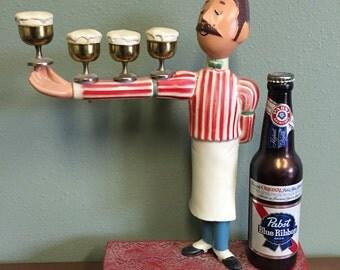 Vintage Pabst Blue Ribbon PBR Bartender Sign Statue