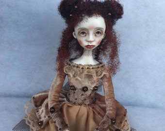 Art doll Rebecca OOAK doll Collecting doll Air dry clay doll Clay doll Paper clay doll Art clay doll Hand made doll Human figure doll