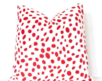 Spotted Red & White Decorative Designer Pillow Cover Accent Cushion polka dot spots Animal print togo dalmation crimson scarlet holiday