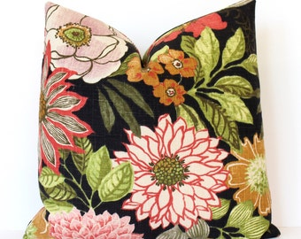 Black and Pink Floral Decorative Designer Pillow Cover Accent blossoms chinoiserie green cream gold yellow red green spring modern floral