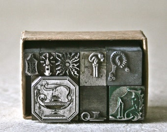 Letterpress Ornaments or Dingbats Featuring Light for Decor Printing and Stamping