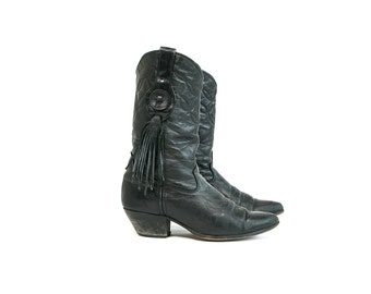 Vintage 1980's Laredo Brand Black Leather Fringe Cowboy Boots Women's Size 7 Country Western Rocker Hipster Leather Shoes
