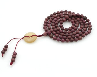 6mm x 6mm Violet Wood Knot Tibetan Buddhist 108 Prayer Beads Japa Mala  N108-SM001