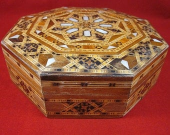 Octagon Box, Decorative, Exotic, Hinged Box, Vintage, Inlayed Mother of Pearl, Veneered, Stash, Trinket Box, Jewelry, Décor, 7 Inches