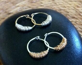 Small Silver Gold Sleeper Hoops Huggie Hoops Mixed Metal Earrings Hammered Wire Jewelry Tribal Jewelry