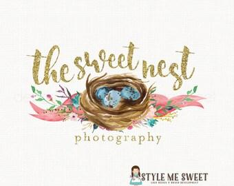 nest logo design watercolor logo design flower logo gold logo design baby logo newborn logo doula logo event planner logo watercolour logo