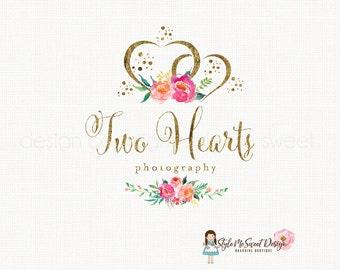 Heart Logo Design Event Planner Logo Photography Logo Design Boutique Logo Wedding Logo Design Watercolor Peony Logo Gold Foil Logo
