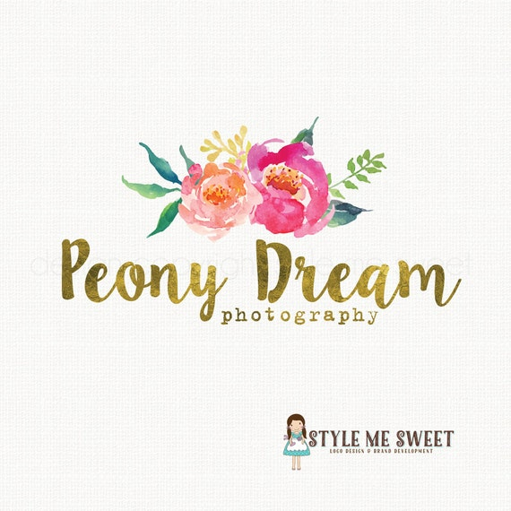 peony logo design watercolor flower logo photography logo premade logo design event planner logo watercolour logo bespoke logo design