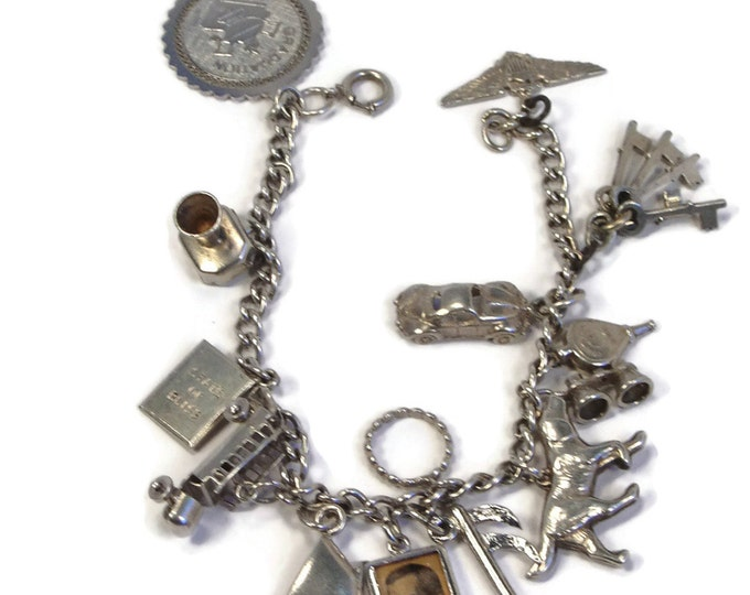 Sterling Silver Charm Bracelet, 14 Charms, 1940s Charms, Marriage Charms, VW Beetle, Movable Charm, Sterling Keys, Bellow Charm, Pointer Dog
