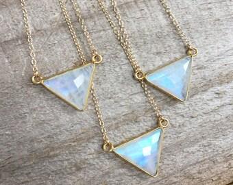 Moonstone Necklace, Gold Necklace, Gemstone Necklace, Geometric Necklace, Triangle Pendant, Moonstone Pendant, Bezel Set Moonstone