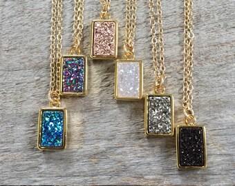 Druzy Necklace, Druzy Pendant, Druzy Jewelry, Rose Gold Druzy Necklace, Titanium Druzy, Druzy Quartz Bezel Set Necklace, Gemstone Necklace