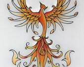 Custom order for Sharon Orange Fire CRPS Warrior Phoenix Rising Original Art