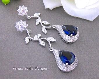 Blue Wedding VINE Earrings Navy Sapphier Cubic Zirconia Bridal Jewelry Bridesmaid Gift Bridal Pearl Earrings Prom