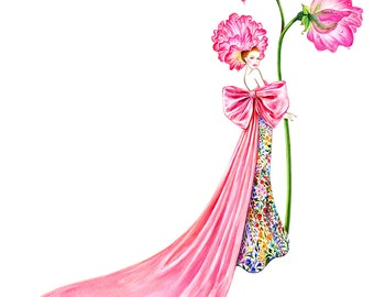 Pink Bow- Watercolor Fashion illustration