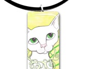 White cat, Fantasy art glass tile pendant, adorable cat, fancy, yellow and green