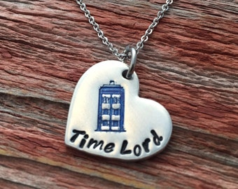"Dr Who inspired hand stamped ""Time Lord"" heart necklace"