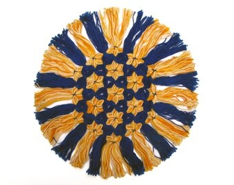 Vintage Doily - Yellow Six-Pointed Stars, Star of David, on Deep Blue - Blue and Yellow, like the Swedish Flag - or Could Be Hanukkah Decor