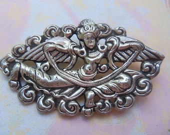 Vintage Silver Tone Goddess Pin Brooch, Angel Pin, Indian Goddess Pin, Metaphysical Jewelry, Fairy Brooch