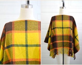 1960s Wool Plaid Blanket Poncho