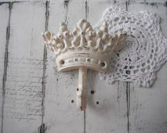 antique white crown hook nursery decor tiara hook rustic hook French country cottage chic paris apartment  jewelry hanger coat hook