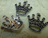 3 Tibetan Silver Crown Pendant Charms